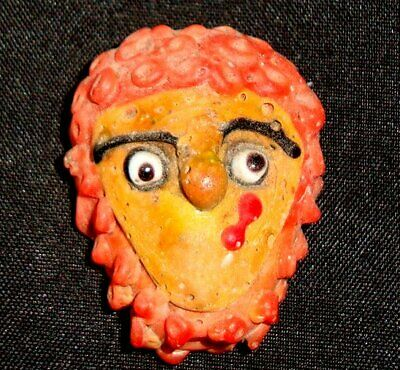 Ancient Phoenician Red Face Head Curly Hair Mosaic Glass Bead Pendant 017