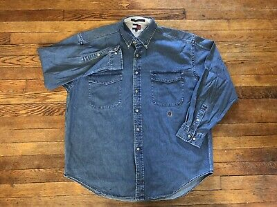 0a392f59e10 Vintage Tommy Hilfiger Men s Size Large Blue Jean Business Casual Shirt