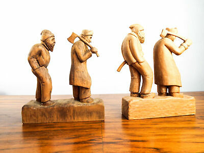 Vintage 1930s WPA Wooden Swiss Wood Choppers Carved Figures Primitive Sculptures