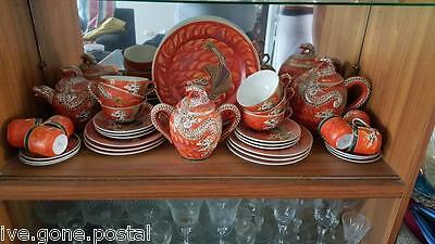 Japanese Dragonware Kutani Lithophane Geisha Porcelain Teapot Set Huge 37 Pcs