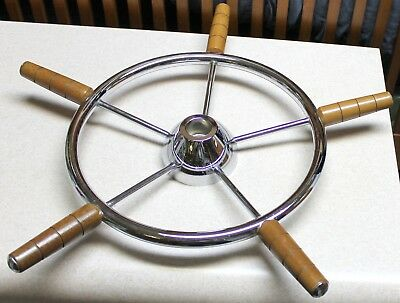 Vintage Nautical Boat Chrome & Wood Steering Wheel Chris Craft?? BP1000 5 Spoke