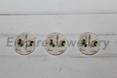 NEW! 2 x Unicorn Face #1 12x12mm Glass Cabochons Cameo Dome Horse Magical Pony