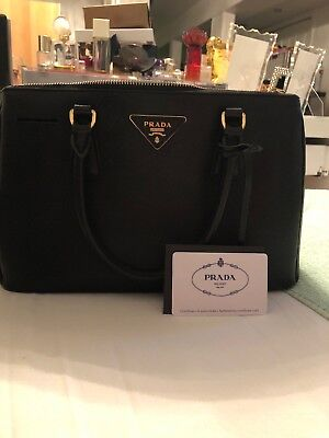 60b2305d4616 Prada Black Purse Handbag Tote Saffiano Lux Double Zip Medium