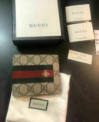 10ed58b9d51 2019 HOT!!! GUCCI Mens WEB GG SUPREME Bi fold Web Bee Wallet ...