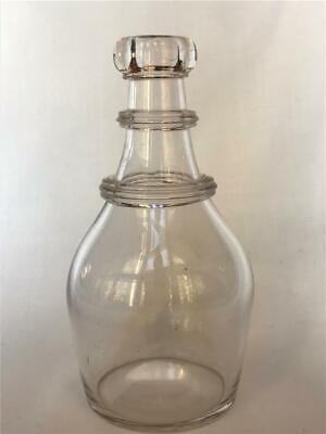 19th C Blown Glass Decanter Bar Bottle Ovoid Shape 2 Applied Rib Neck Rings