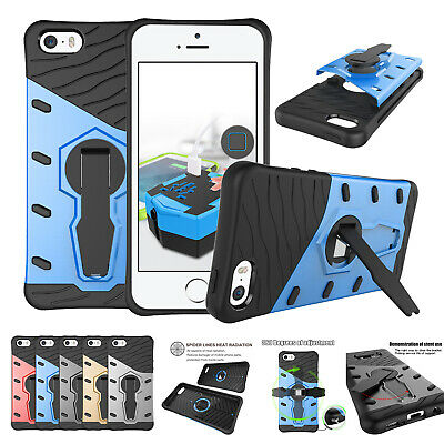 For iPhone 5 5S SE Hybrid Dual Layer Tough Stand Armor Heavy Duty Gel Case Cover