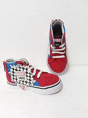 Vans X Marvel Spiderman Sk8 Hi Zip TD Red   Blue Toddler Infant Size Spider- 6bc32995c