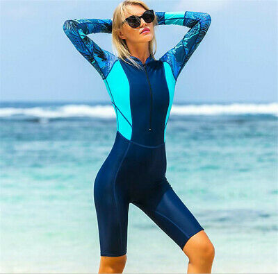 Women Anti-UV One-Piece Swimsuit Long Sleeve Lycra Wetsuit Swimming Diving Suit