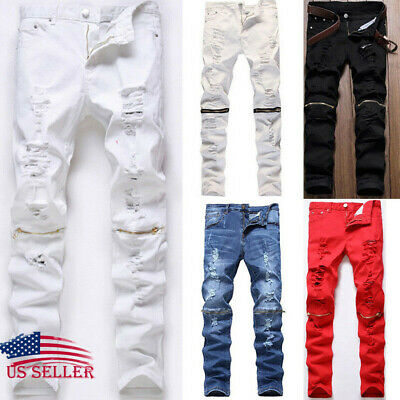 Men's Stretchy Ripped Jeans Pants Destroyed Taped Skinny Slim Fit Denim Trousers