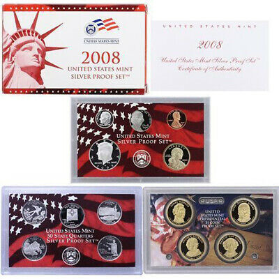 2008-S United States Mint SILVER PROOF SET 14-Coins w/Box + COA