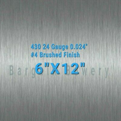 "430 Stainless Steel Sheet #4 Brushed 24 Gauge 0.024"" inch/0.63mm 6"" x 12"" inch"