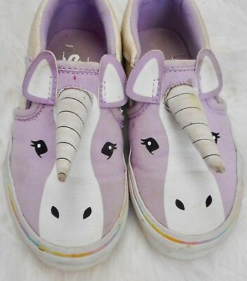 919ee6ccaa83fa Vans Asher Size 11.5 Unicorn Slip On Shoes Casual Sneakers Rainbow Lavender