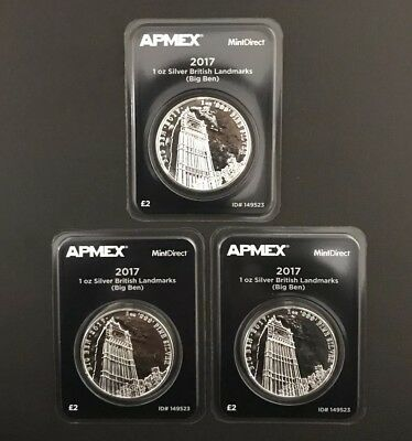 Lot of 3 - 2017 1 oz Silver Landmarks of Britain (Big Ben) APMEX Mint Direct