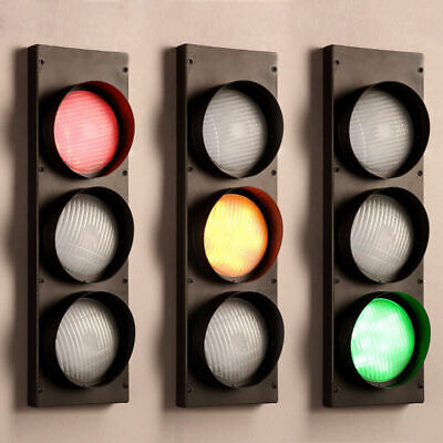 Vintage Traffic Signal LED Wall Light Interior Decor 3-Color Sconce Fixture Lamp