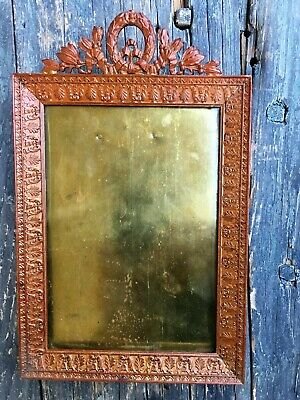 Antique French Empire Embossed Solid Copper Easel Figural Picture Frame, France