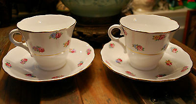 Vintage Set 2 COLCLOUGH England TINY PINK ROSES Tea Cup & Saucer SET Bone China