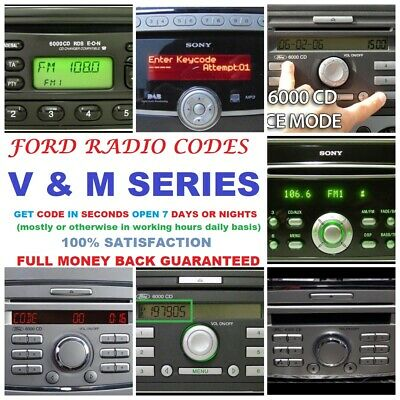 *FASTEST SERVICE* FORD RADIO UNLOCK CODE M and V SERIES GALAXY MONDEO S-MAX CMAX