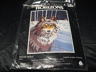 "Old 1993 Monarch Horizons SNOW WOLF 16"" x 20"" Persian Wool Yard Longstitch Kit"