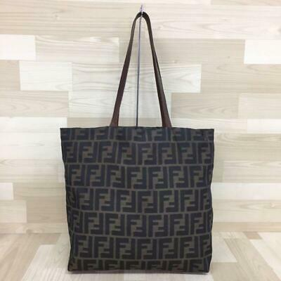 1cb8c1dc9a38 RARE FENDI ZUCCA Tote Bag Logo Canvas Leather Handbag Vintage ...