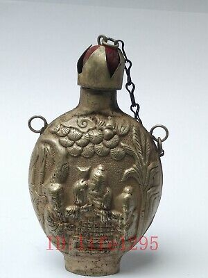 Collecting China Ancient Tibet Silver Carving Figure Snuff Bottle Decoration