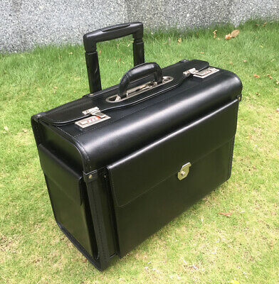 Business pu Leather Trolley Suitcase Pilot Captain Rolling Luggage Mens Travel