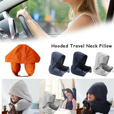 Soft Comfortable Hooded Neck Travel Pillow U Shape Airplane Pillow with Hoodie J