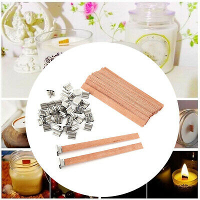 10/20Pcs Wooden Wick Candle Core With Sustainer Tabs For Candle Making 5 Size-