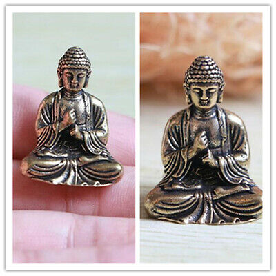 Small Statue lucky Chinese Buddhism Pure Copper Brass Bronze Sakyamuni Buddha
