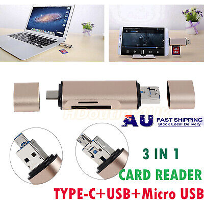 USB 2.0 Type-C USB-C Micro TF SD Card Reader Adapter For Macbook Samsung Android