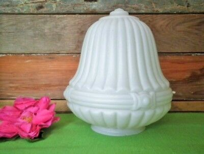 ANTIQUE LIGHT SHADE WHITE MILK GLASS EDWARDIAN MOULDED PATTERN VGC more LISTED