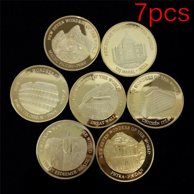 7pcs Seven Wonders of the World Gold Coins Set Commemorative Coin Collect JF