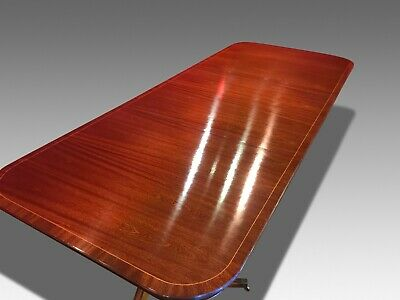 8.8ft TRIPLE PEDESTAL GEORGE III STYLE BRAZILIAN MAHOGANY TABLE, FRENCH POLISHED