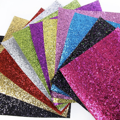 Chunky Glitter Faux Leather Sheet Leatherette Fabric 20cm x 34cm per sheet