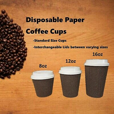 8oz 12oz 16oz Triple Wall Disposable Coffee Cups Takeaway Paper Take Away Bulk