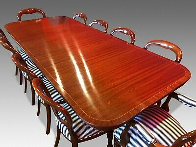 8.8ft TRIPLE PED GEORGE III STYLE BRAZILIAN MAHOGANY TABLE SET, FRENCH POLISHED