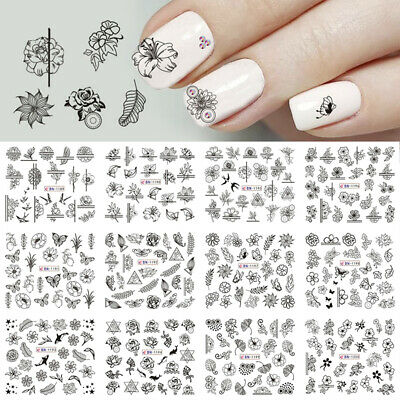 12 Types/Nail Art Black Decal Water Transfer Sticker DIY Flower Rose Manicure--