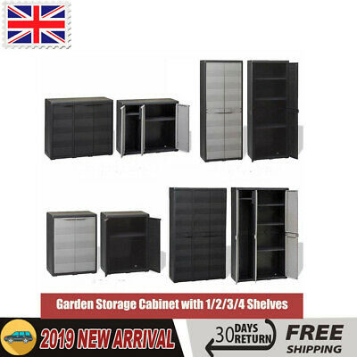 Garden Storage Cabinet Cupboard Outdoor Tool Chest Lockers Shed 1 2 3 4 Shelves