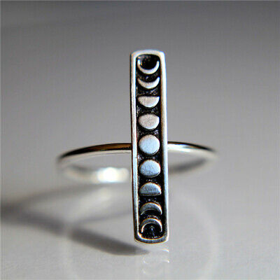 Vintage 925 Silver Moon Phase Stacking Finger Ring Moon Band Jewelry Size 6-10