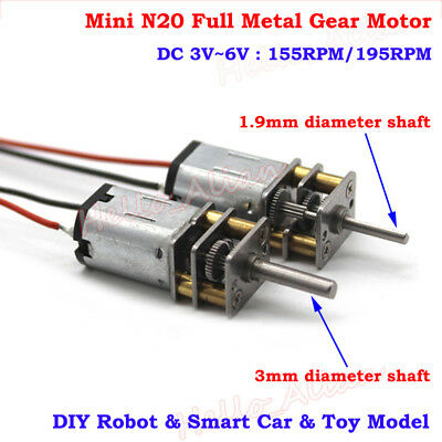 10mm DC 3V 5V 6V Micro N20 Full Metal Gearbox Gear Motor Reducer Robot Car DIY