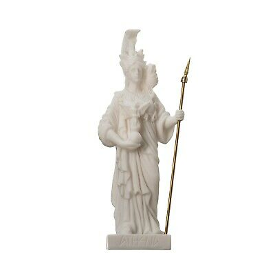Athena with Owl Goddess of wisdom and war Alabaster  Statue 6.29""