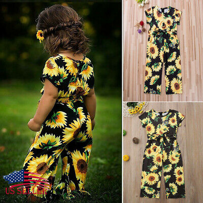0bdf2ee10f1 US Toddler Kids Baby Girls Sunflower Romper Bodysuit Jumpsuit Outfits  Clothes
