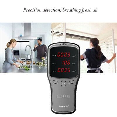 PM1.0/PM2.5/PM10 TVOC HCHO Air Quality Detector Formaldehyde Tester Home Office