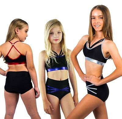 Childs Dance Set - Booty Shorts & Crop Top with Crop Top - Black/Metallic Trim