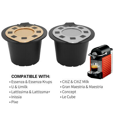Reusable Refillable Coffee Capsules Pod For Nespresso Plastic+Steel Filters Nice