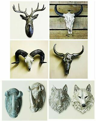 Wall Mount Stag Head Sculpture Silver Resin Elk Animal Art Hanging Home Decor