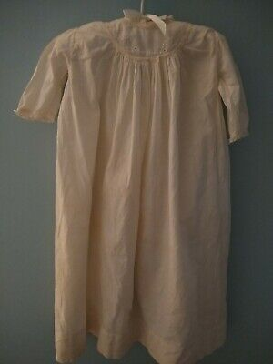 Vintage  Victorian  Christening Gown Dress Sheer Off White