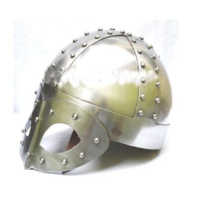 Viking Mask Knight Deluxe Helmet FREE Liner & Chain For Man-Replica Medieval