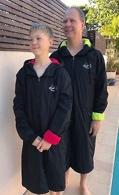 Swim Parka New Wazsup Black with Red Size XL (Pool deck coat, swim jacket)