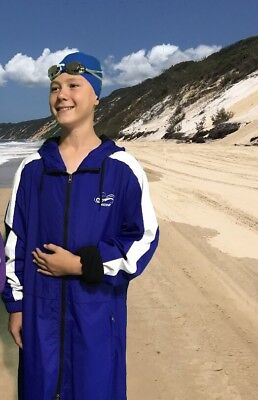 Swim Parka New Wazsup Royal Blue M pool deck coat, swim jacket, beach wear/robe)