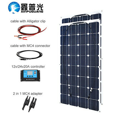 200w 16V Solar Panel Panneau solaire+20A Controller for Camping Off Gird RV/Boat